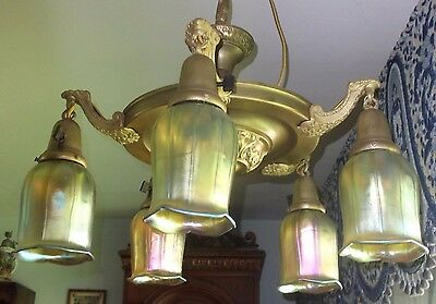 Antique brass hanging fixture/light with gold aurene tulip shades