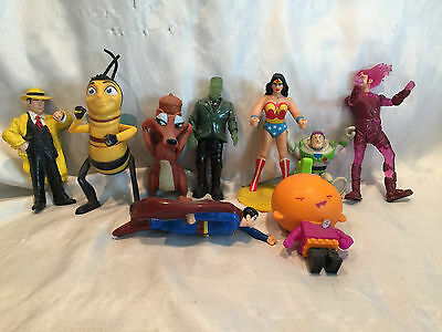 Collectible Lot Of 9 Mix Toys Dick Tracy, Wonder Woman, Superman, Frankenstein..