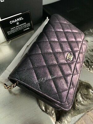 64581a37172efc NWT CHANEL 19S Iridescent Black Caviar WOC WalletOnChain 2019 Pearly CC  MERMAID