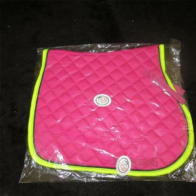 LOVE MY HORSE General Purpose Quilted Saddle Pad Cloth Full Size Rasb / Lime
