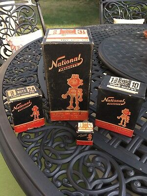 Vintage National Screw Products NAT ROBOT Mascot Screw Box Lot of 4 empty