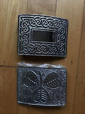 2 Pcs Set Vintage Meta belt Buckle Sterling Sliver Plated