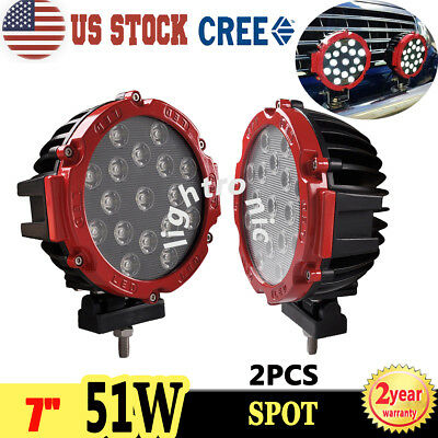 2X 7Inch 51W Cree Led Driving Light Spot Offroad Truck Suv Round Red Fog Lamp