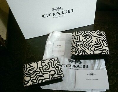 NWT Authentic Coach Keith Haring Wallet - with CC Wallet & Box - F87100 - $225