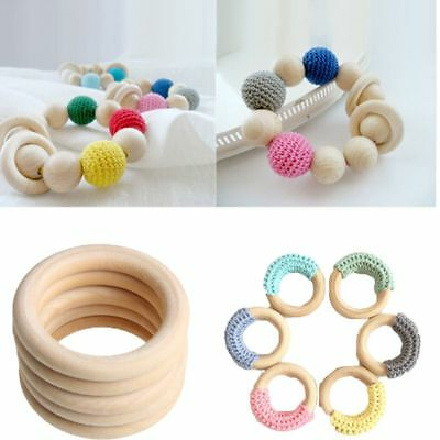 Baby Wooden Teething Rings Necklace Bracelet 70mm DIY Craft Natural Healthy 5pcs
