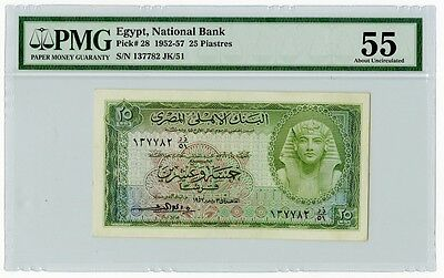 About Uncirculated-Egypt-25 Piastres-1957-Certified