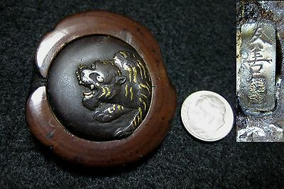 "Antique Japanese Kagamibuta Netsuke ""howling Tiger"" Tomoyoshi Signature"