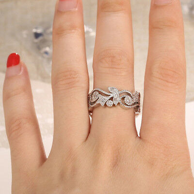 Exquisite Lady's 925 Sterling Silver Floral  Flower Diamond Lucky Wedding Ring