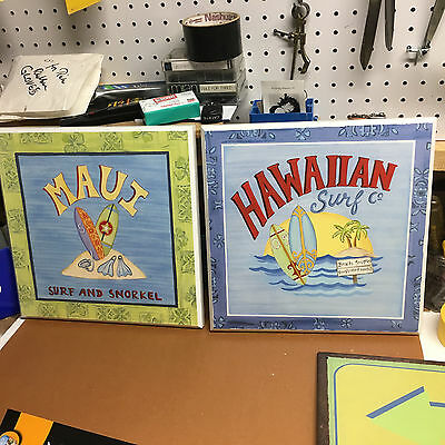 Two (2) Hawaiian Surf Company & Maui Signs Wooden Plaque by Target Home Brands