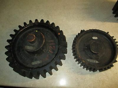 2 Antique Wood Industrial Foundry Pattern Gear Cog UIS Co  Pacific Fruit Express