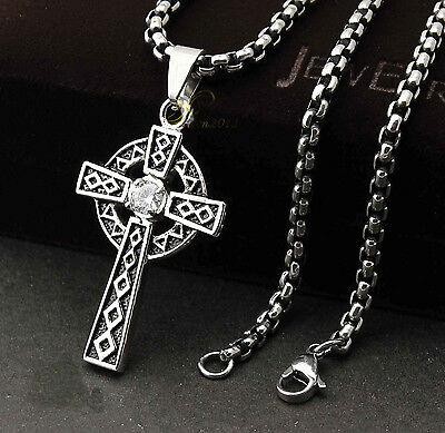 Men's 316L Stainless Steel Vintage Celtic Cross Pendant Necklace