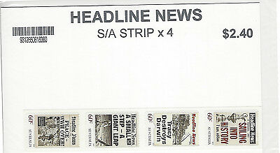 Australian Decimal Stamps: 2013 Headline News P & S strip of 4 -  MNH