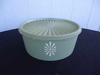 vintage retro green  tupperware biscuit cake container