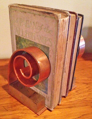 ANTIQUE ART DECO INDUSTRIAL CHASE BOOKENDS MODERN COPPER BRASS Spiral Machine Ag