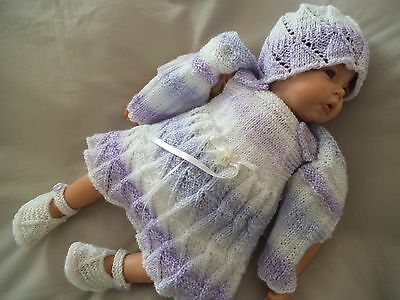 Hand Knitted Baby Clothes 5 Piece Baby Girl  Pinafore/ Dress Outfit Reborn Doll