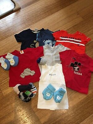 Six Gorgeous Baby Boy T Shirts, Singlet, Booties And Socks