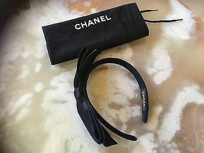 Auth. Chanel Hair Accessories Black Headband Hair Band Head Piece Satin Bow