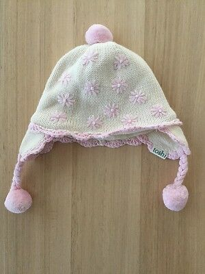TOSHI BABY GIRLS WINTER Organic Beanie Ear Muff HAT Pink Pom Pom Flower XXS EUC