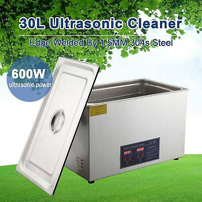 Ultrasonic Cleaner Stainless Steel Cleaning Equipment w/ Heater Timer 30L New
