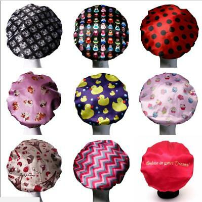 Women Waterproof Wave Dot Printing Elastic Satin Shower Bathing Dry Hair Cap Hat