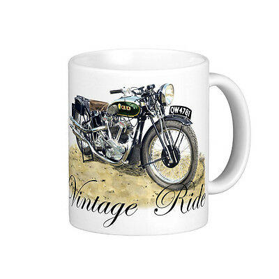 VINTAGE 1935  BSA  V TWIN  MOTOR BIKE   QUALITY 11oz  WHITE MUG