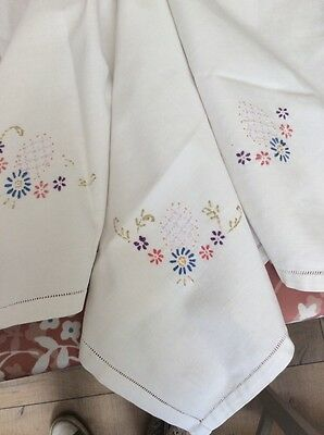 """vintage 21"""" x 24"""" tablecloth topper hand embroidered"""