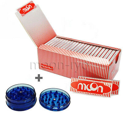1 Box 50 Booklets Moon Red Cigarette Tobacco Rolling Papers 70*36mm with grinder