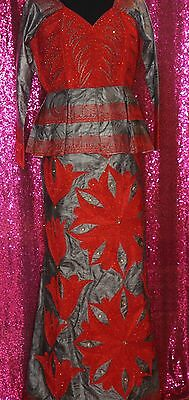 Red and Silver Bazin Getzner Long Sleeve Wrap Skirt Set