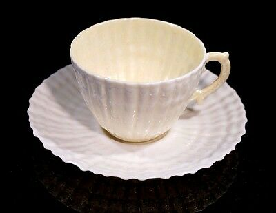 Beautiful Belleek Black Mark Limpet Yellow Cup And Saucer