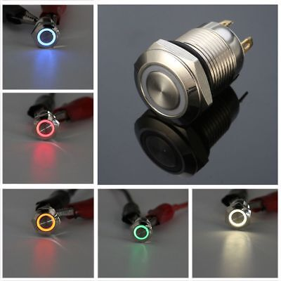 12V 12mm LED Power Push Button Switch Momentary Waterproof Metal