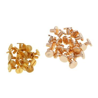 20 Sets Solid Brass Flat Round Head Stud Screwback Leather Craft Chicago Screws
