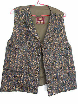 "Dunn&Co vintage waistcoat brown /gold with lapels 6 button 4  pockets 46"" chest"