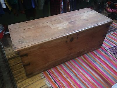 Antique wooden blanket box or chest