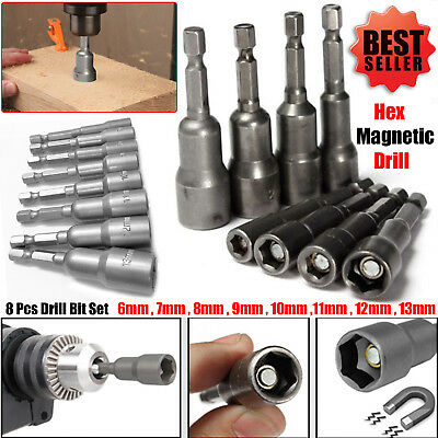 """8pc 1/4"""" Hex Magnetic Nut Driver Socket Set Metric Impact Drill Bits 6 to 13mm"""