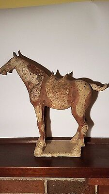 Ancient Chinese painted pottery horse, Tang dynasty 618-907 AD Antique