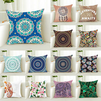 Geometric Mandala Cotton Linen Pillow Case Waist Throw Cushion Cover Home Decor