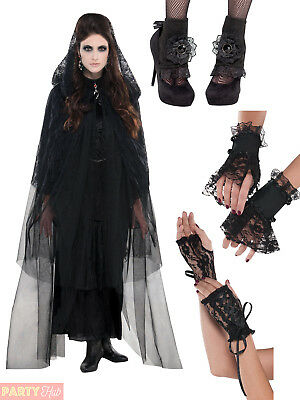 Ladies Gothic Lace Accessories Womens Halloween Fancy Dress Costume Outfit