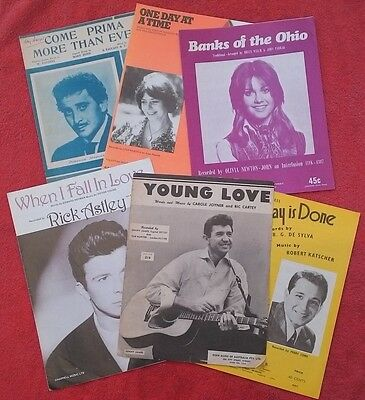 Bundle of 6 1950's Sheet Music. In Good Condition. Artist Photos