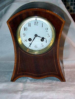 Quality antique Victorian French satinwood inlaid mantle clock by Marti working