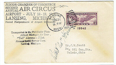 1931 Talbert 'ted' Abrams Signed Cover-The Father Of Aerial Photography.