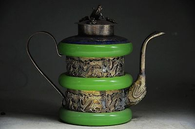 Unique Silver The 12 Chinese Zodiacs Inlaid Jade Handwork Monkey Flagon