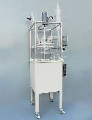 50L Single-deck Glass Chemical Reactor,  Chemistry Reacting Vessel w Water Bath