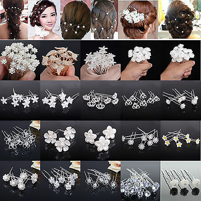 Set 40 Cristallo Capelli Strass Comunione Matrimonio Forcine Accessorio Per
