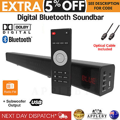 20W Slim TV Sound Bar Wireless Bluetooth Radio USB Remote Audio Soundbar Speaker
