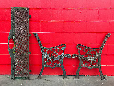VINTAGE CAST IRON Outdoor PARK BENCH....project...