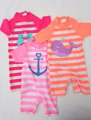 New  Baby Girls UV Sun safe SPF 50 Swimsuits Sun suit  3 6 9 12 18 24 mth
