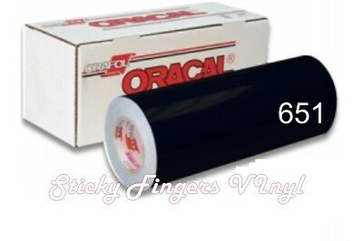 "5 ft Roll Gloss BLACK ORACAL 651 Permanent Adhesive Vinyl 12"" x 5 ft"