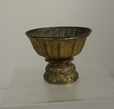 Antique South East Asian Tibetan Repousse Brass Bronze Gilt Altar Temple Bowl