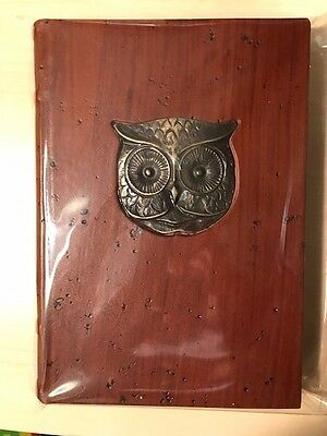 leather lined journal Barnes and Noble metal owl