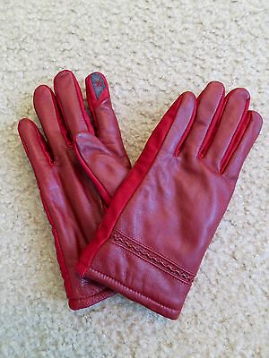 NWT Women's Red Genuine Leather Gloves